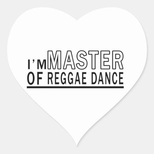 Eu sou mestre da dança da reggae adesivos em forma de corações