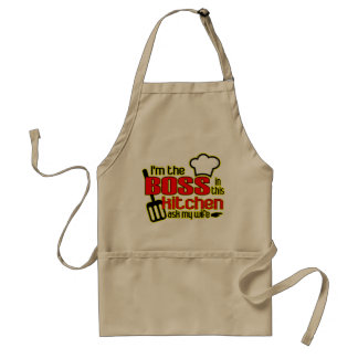 Eu sou o CHEFE neste avental da cozinha