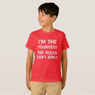 Eu sou o mais novo que as regras não se aplicam t-shirts