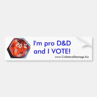 Eu sou pro D&D e EU VOTO a etiqueta Adesivo Para Carro
