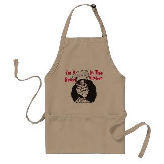 Eu sou um animal no avental do padrão da cozinha