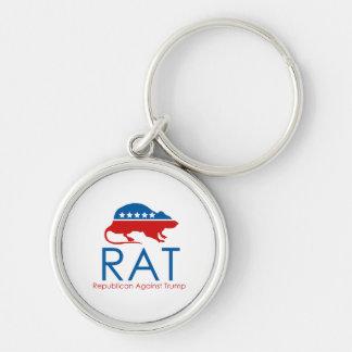 Eu sou um R.A.T: Republicano contra o trunfo Chaveiro Redondo Na Cor Prata