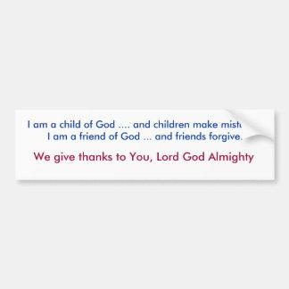 Eu sou uma criança do deus…. e as crianças fazem a adesivo para carro