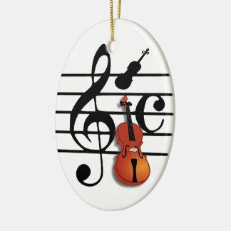 Eu sou Violin#2_ Ornamento De Cerâmica Oval