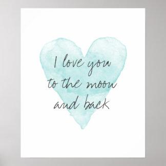 Eu te amo ao poster da cor da lua e de água pôster