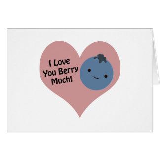 Eu te amo baga muito mirtilo cartão de nota
