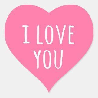 Eu te amo coração cor-de-rosa do dia dos namorados adesivo coração