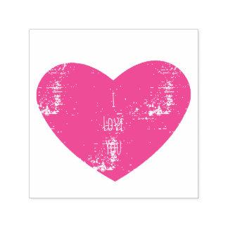 Eu te amo coração personalizado rosa carimbo auto entintado