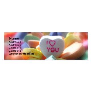 Eu te amo, em doces do coração cartão de visita skinny