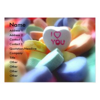 Eu te amo, em doces do coração cartão de visita grande