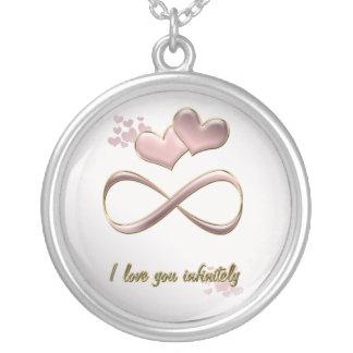 Eu te amo infinita corações cor-de-rosa do dia dos colar com pendente redondo