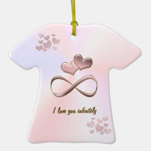 Eu te amo infinita corações cor-de-rosa do dia dos ornamentos