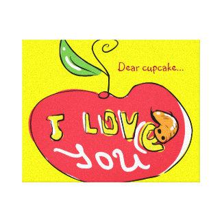 Eu te amo maçã com canvas do sem-fim impressão de canvas esticada