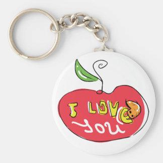 Eu te amo maçã com chaveiro do sem-fim