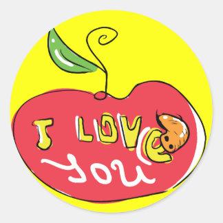 Eu te amo maçã com etiqueta do sem-fim adesivo em formato redondo