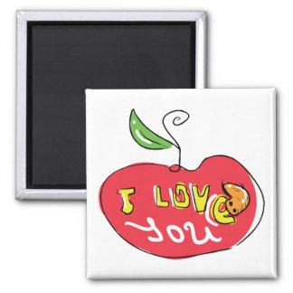 Eu te amo maçã com ímã do sem-fim imãs de refrigerador