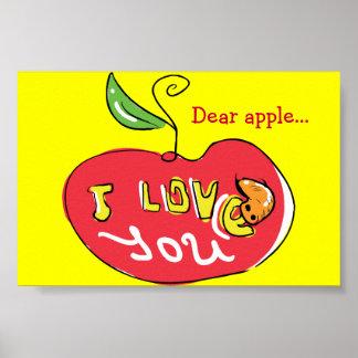 Eu te amo maçã com impressão do sem-fim