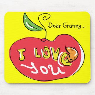 Eu te amo maçã com mousepad do sem-fim