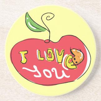 Eu te amo maçã com porta copos do sem-fim