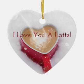 Eu te amo um dia dos namorados do coração de Latte Ornamento De Cerâmica Coração