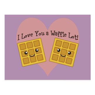 Eu te amo um lote do Waffle! Cartão Postal