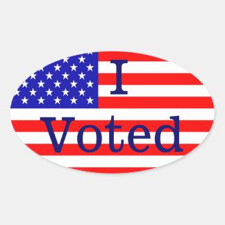 Eu votei etiquetas da eleição da bandeira