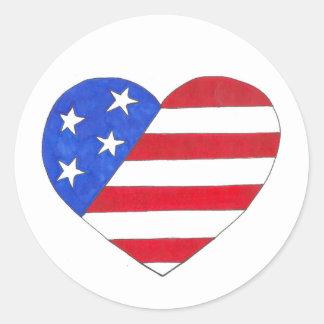 EUA amor patriótico do coração da bandeira Adesivo