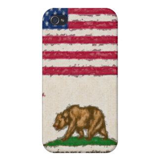 EUA e bandeiras impressionista 4 de Califórnia iPhone 4 Capa