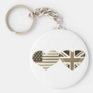 EUA e design BRITÂNICO da bandeira do coração do S Chaveiro