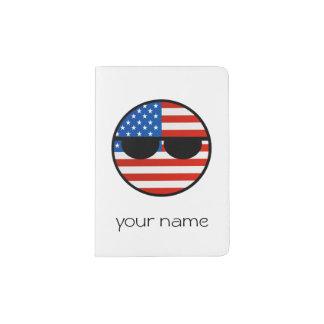 EUA Geeky de tensão engraçados Countryball Capa Para Passaporte