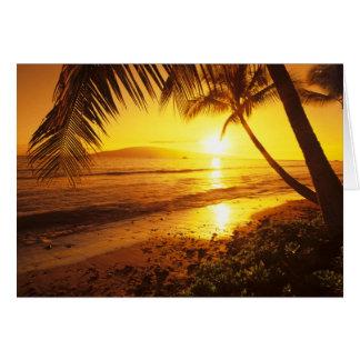EUA, Havaí, Maui, por do sol colorido em uns 2 Cartão Comemorativo