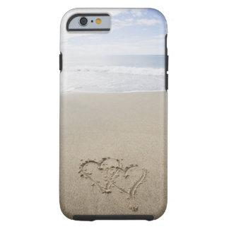 EUA, Massachusetts, corações tirados no Sandy Capa Tough Para iPhone 6
