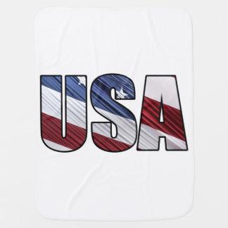 EUA na bandeira patriótica americana branca e azul Cobertores Para Bebe