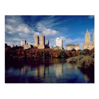 EUA, Nova Iorque, Central Park, lago Cartão Postal