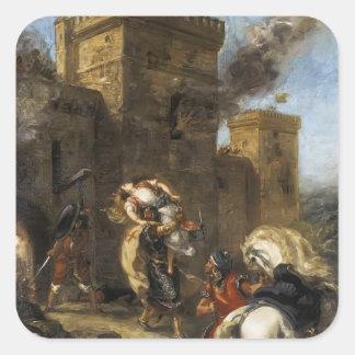 Eugene Delacroix- Rebecca sequestrada pelo Templar Adesivos Quadrados