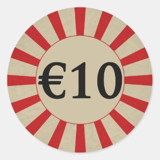(euro-) preço €10 lustroso redondo adesivo