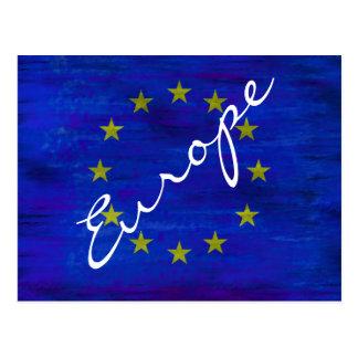Europa afligiu a bandeira européia cartão postal