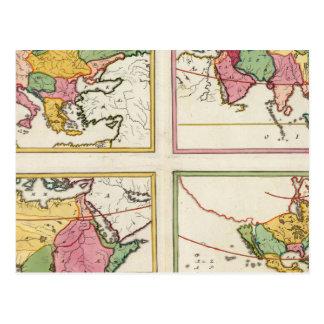 Europa, Ásia, África, América Cartão Postal