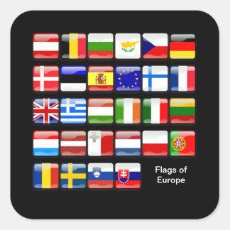 EUROPA: Bandeiras de Europa Adesivo Quadrado