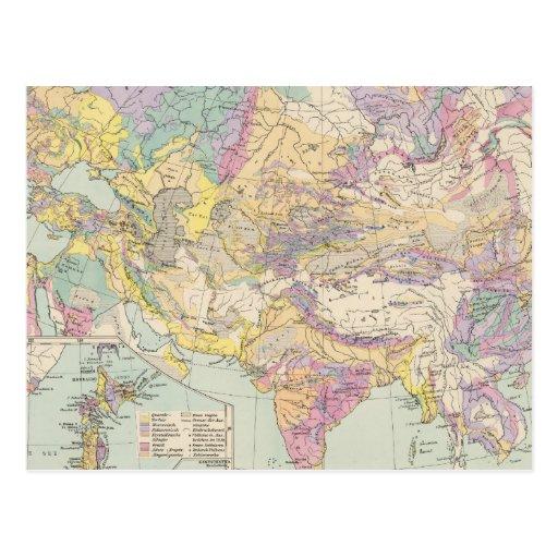 Europa de Asien u - mapa do atlas de Ásia e de Eur Cartao Postal