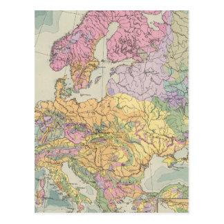 Europa - mapa geológico de Europa Cartão Postal