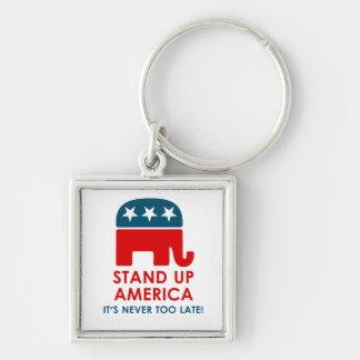 Evan McMullin - levante-se América! Chaveiro Quadrado Na Cor Prata