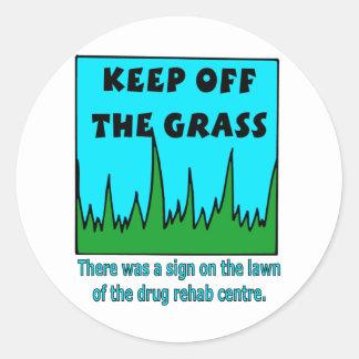 Evite a grama adesivo redondo