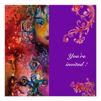 EXCALIBUR vermelho brilhante roxo Convites Personalizados