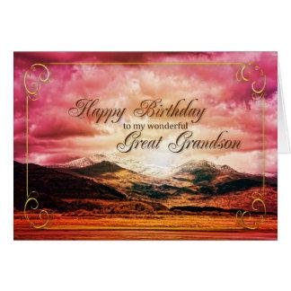 Excelente - aniversário do neto, por do sol sobre cartão comemorativo