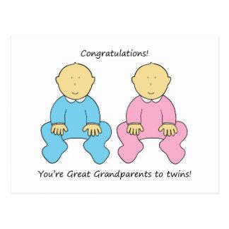 Excelente - avós aos gêmeos, felicitações cartão postal