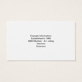Exemplo de um cartão de visita para um negócio da
