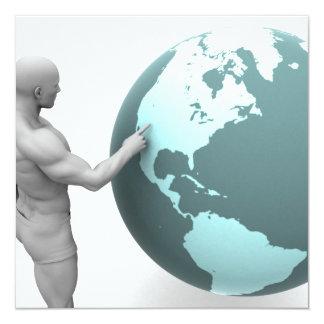 Expansão de negócio no continente de America do Convite Quadrado 13.35 X 13.35cm