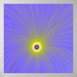 Explosão da cor no poster amarelo e azul