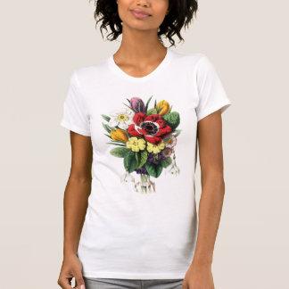 Exposição colorida das flores do buquê do vintage tshirts